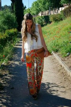 Summer. White and Flowers.  Hippie