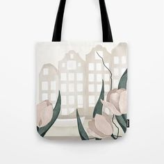 Amsterdam Canal Tulips Tote Bag Amsterdam Canals, Cute Presents, Gifts For An Artist, Printed Tote Bags, Beach Towel, Laptop Sleeves, Tulips, Hand Sewing, Shopping Bag