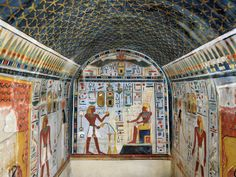 Chapel of Hathor - made by Tuthmosis III at Deir el-Bahri between the Temple of Hatshepsut and the Middle Kingdom Temple of Montuhotep II.