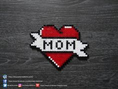 Coeur Tattoo Traditionnelle Pearls Hama / Traditional Tattoo Style Heart P . - Traditional Tattoo Style Heart Perler Beads Informations About Coeur Style Tatouage Traditionnel Per - Perler Bead Designs, Easy Perler Bead Patterns, Hama Beads Design, Diy Perler Beads, Perler Bead Art, Hama Beads Kawaii, Coeur Tattoo, Hamma Beads Ideas, Art Perle
