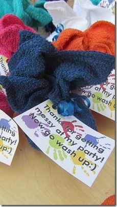 "Nothing better as the give-a-way for a ""Messy Party"" theme than a wash cloth and some soap!  Love it."