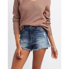 Refuge Hi-Rise Cheeky Denim Shorts ($25) ❤ liked on Polyvore featuring shorts, dark wash deni, destroyed jean shorts, distressed jean shorts, zipper pocket shorts, denim shorts and high waisted jean shorts