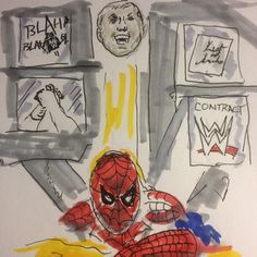 Artist's interpretation of watching #WWE #RAW Did you tell me it's raining Vince? #spiderman #thelist