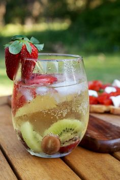 White Sangria. The perfect afternoon drink! Full of fruit and flavour you need one of these as the sunsets :-)