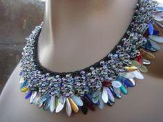 Daggers Galore  Knitted Beaded Necklace by tsavoritesiren on Etsy, $91.00
