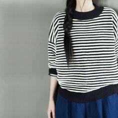 Black White Stripe Loose Sweater Cotton Top Casual Women Clothes LR222