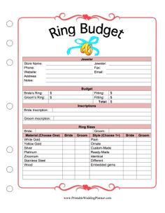 This printable ring budget planner helps a bride and groom plan the cost of the … – Wedding Planning Organization