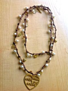 Double Wrap Leather Necklace Leather Wrap by SecretTreasurebyIris, $75.00