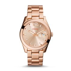 Perfect Boyfriend Three-Hand Date Stainless Steel Watch in Rose Gold tones.