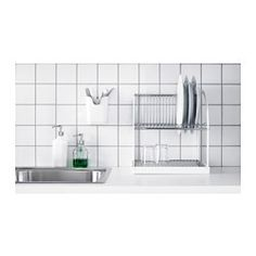 """IKEA - BESTÅENDE, Dish drainer, The dish drainer can be made larger by pulling out the tray, so you can fit a lot of dishes in a small area.The removable tray collects water from the dish drainer.Holds large plates with a dia. up to 13"""" as well."""