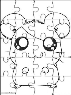 Printable jigsaw puzzles to cut out for kids Hamtaro 18 Coloring Pages