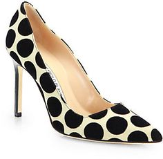Manolo Blahnik Satin & Suede Polka Dot BB Pumps $695.00