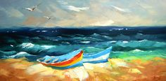 In the azure waves. Modern Art. Oil Painting on by spirosart