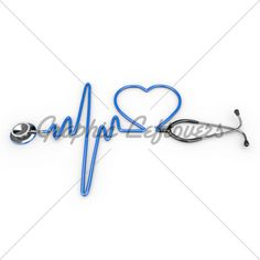 Stethoscope And A Silhouette Of The Heart And E...