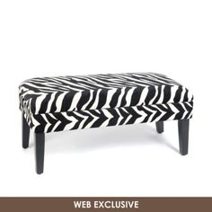 Zebra Print Storage Bench | Kirklands - 40L x 19W x 17H in - $100
