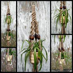 Zen Garden Handmade Natural Jute Double Macrame Plant Hanger | by Macramaking- Natural Macrame Plant Hangers