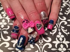 Gel nails, hello kitty, leopard, chain, bows, pink, blue, white, silver
