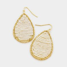 Simone White and Gold Wire Beaded Teardrop Dangle Earrings with fish hook and they very light weight! https://www.bettinascollection.com/products/simone-white-beaded-teardrop-earrings