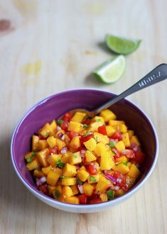 Fresh & Juicy Mango Salsa A quick and easy side dish for a colorful BBQ party. eatwell101.com