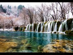 https://flic.kr/p/9HiEb1 | CHINA | Beautiful waterfalls after a mild snow storm in Jiuzhaigou national park, Sichuan, China.     www.boazimages.com