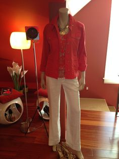 """Color color color - what's not to love here.A little dressy, but not too much - CAbi white linen blend """"Everly"""" pant, paired with the Mum Cami and fantastic Taylor Jacket. Did I show you the back of this jacket yet?     Www.debragrauss.cabionline.com"""