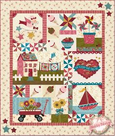 "Blessings of Summer - Renewed Full Kit - TRADITIONAL: The Blessings of Summer quilt is back! This great quilt was such a hit the first time, we are offering it again in all new fabrics. This exclusive design was created by Jennifer Bosworth . Finishing to 55"" x 65"", this quilt celebrates all the joys of warm summer days with twirling pinwheels, a wagon full of daisies, yummy ice cream cones and so much more. Tiny wooden clothes pins secure miniature quilts to the clothesline for added fun…"
