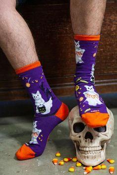 Cool Yellow Halloween Boo Ghost Socks for Women Comfort Four Seasons Socks Compression Boot Socks