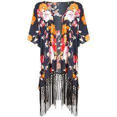Phase Eight Naomi Print Kimono Jacket, Multi ($99) ❤ liked on Polyvore featuring outerwear, jackets, floral jacket, floral tassel kimono, floral print kimono, short kimono and tassel jacket