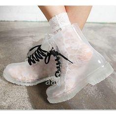 Women Flat PVC Transparent Clear Jelly Rubber Rain Waterproof Low Ankle Boots