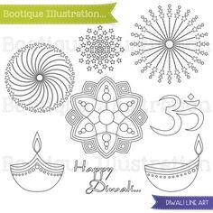 Diwali Line Art for Instant Download includes 11 Diwali digital stamps including Diya, Om, Rangoli, Fireworks and Happy Diwali vector