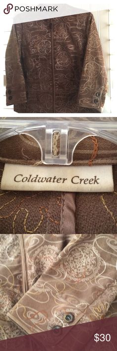Coldwater Creek Embroidered Jacket Beautifully embroider zip up Jacket. Excellent condition. Coldwater Creek Jackets & Coats