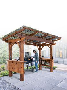 Backyard Pavilion, Backyard Gazebo, Backyard Patio Designs, Backyard Landscaping, Backyard Cabana, Outdoor Pavilion, Rustic Backyard, Backyard Ideas, Outdoor Grill Area