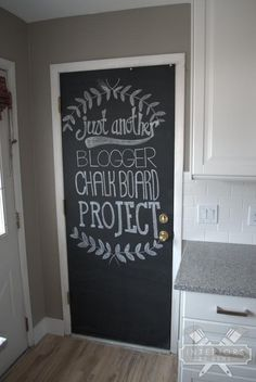Spice up your back door for only $9. How to paint a chalkboard door.