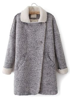 Grey Pockets Turndown Collar Long Sleeve Wool Coat