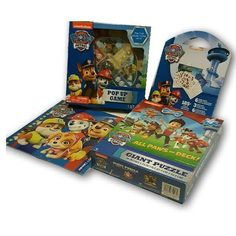 Paw Patrol Activity Set Board Game Puzzle Kids 4 Piece Gift Nickelodeon Pop Up  #Nickelodeon