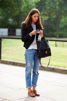 Pairing a black blazer with light blue destroyed boyfriend jeans is a comfortable option for running errands in the city. Elevate this ensemble with brown leather oxford shoes.  Shop this look for $86:  http://lookastic.com/women/looks/cropped-sweater-blazer-crew-neck-t-shirt-tote-bag-boyfriend-jeans-oxford-shoes/4904  — Grey Cropped Sweater  — Black Blazer  — White Crew-neck T-shirt  — Black Leather Tote Bag  — Light Blue Ripped Boyfriend Jeans  — Brown Leather Oxford Shoes