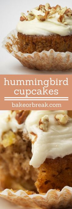 Hummingbird Cupcakes are a delicious combination of bananas, pineapple, nuts, and cinnamon, all topped with cream cheese frosting. - Bake or Break