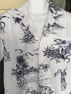MD Fashions Hawaiian Aloha Shirt Mens Size M Hawaii Map Hula  White Blue #MDFashions #Hawaiian