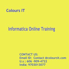 Informatica software courses available online, thus, making it easier for candidates, not physically, the classes involved. INFORMATICA Online  Training  the course offer a tremendous help for business, students, and others.INFORMATICA Online  Training , practical use of software on the market to get a detailed picture of the candidates. Data integration methods and strategies help manage data integration projects on the market INFORMATICA Online Training…