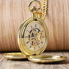 Elegantné pánske vreckové hodinky v zlatom retro prevedení Pocket Watch  Mens b31fae4c117