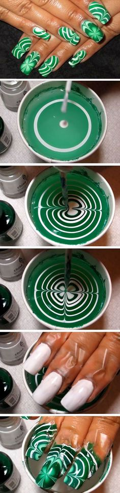 Water Marble Shamrocks: