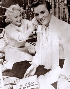 Elvis first and last Christmas at his Audubon drive house , here with his date Dottie Harmony in december 25 1956.