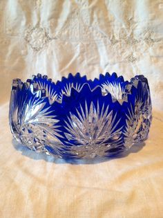 Vtg Heavy Bohemian Cobalt Blue Cut to Clear Glass Crystal Bowl with Pinwheel | eBay