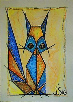 ACEO Original Hand Painted NOT A PRINT-Abstract Cat-Signed-Miniature Art #Abstract Cat Signs, Yellow Cat, List Of Artists, Watercolor Pencils, Abstract Art, Miniatures, Hand Painted, Art Prints, The Originals
