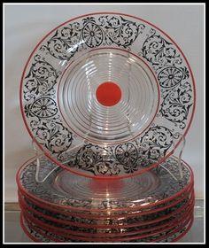 RARE Antique Art Deco Cambridge Glass Tally HO Plates w Red Enamel Set of 8 | eBay