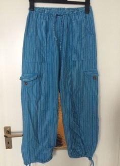 Kaufe meinen Artikel bei #Kleiderkreisel http://www.kleiderkreisel.de/damenmode/haremshosen/118148196-haremshose-hippiehose-stoffhose-aladdinhose-blau-turkis-gestreift-streifen-goa-hippie-pumphose