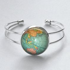 Vintage Globe Bracelet Map Jewelry Planet Earth World Travel Cuff Bangle Bracelet on Etsy, $15.95
