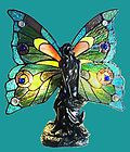 For Sale - Tiffany Style Stained Cut Glass Colorful Fairy Accent Table Lamp Night Light