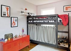 The boys have a loft bed and I love the idea of a little shelf up by the top…