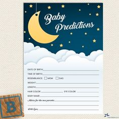 Baby Prediction Cards, Irish Symbols, Golden Star, White Clouds, Over The Moon, Menu Cards, Baby Shower Printables, Card Sizes, Night Skies